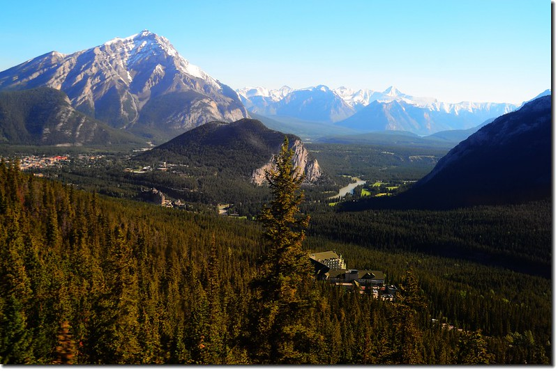 Banff Castle hotel from top of Sulphur Mountain