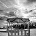 when the music stops, fine art B&W of deserted bandstand and park bench, Jardin des Personalites, Honfleur, Calvados, Normandy, France