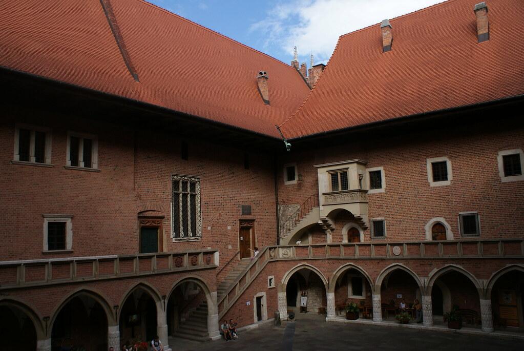 Cour de l'Université Jagellon dans le centre historique de Cracovie.