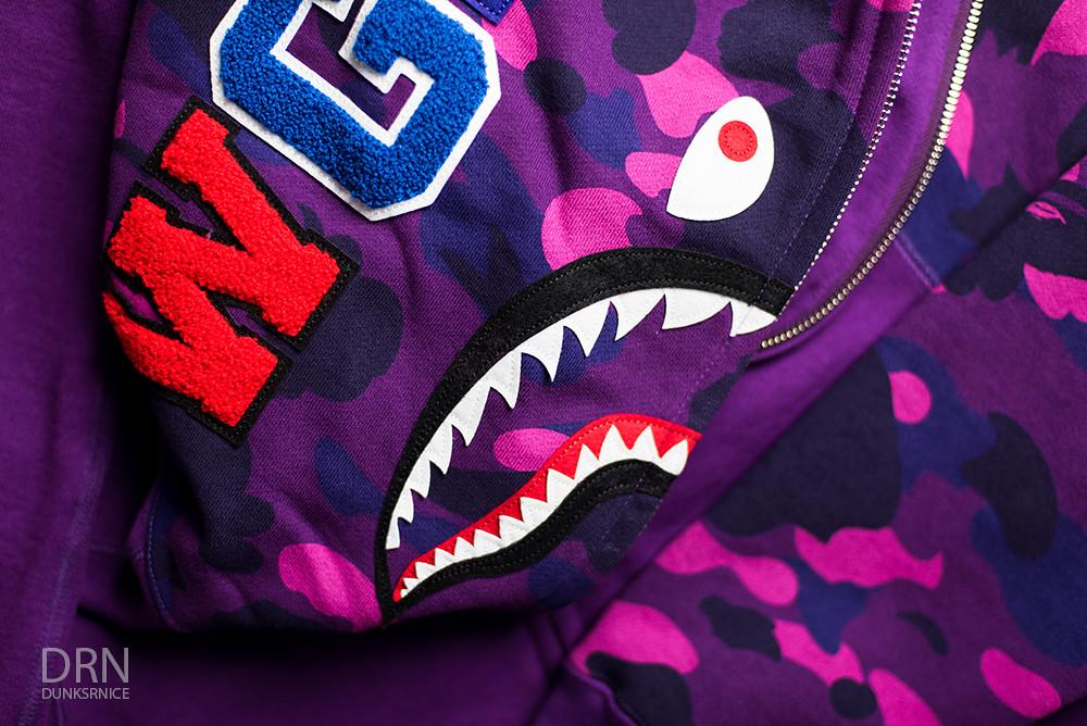 Purple Camo Bape Shark Hoodie.