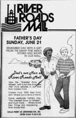 River Roads Mall father's day newspaper ad (1981)