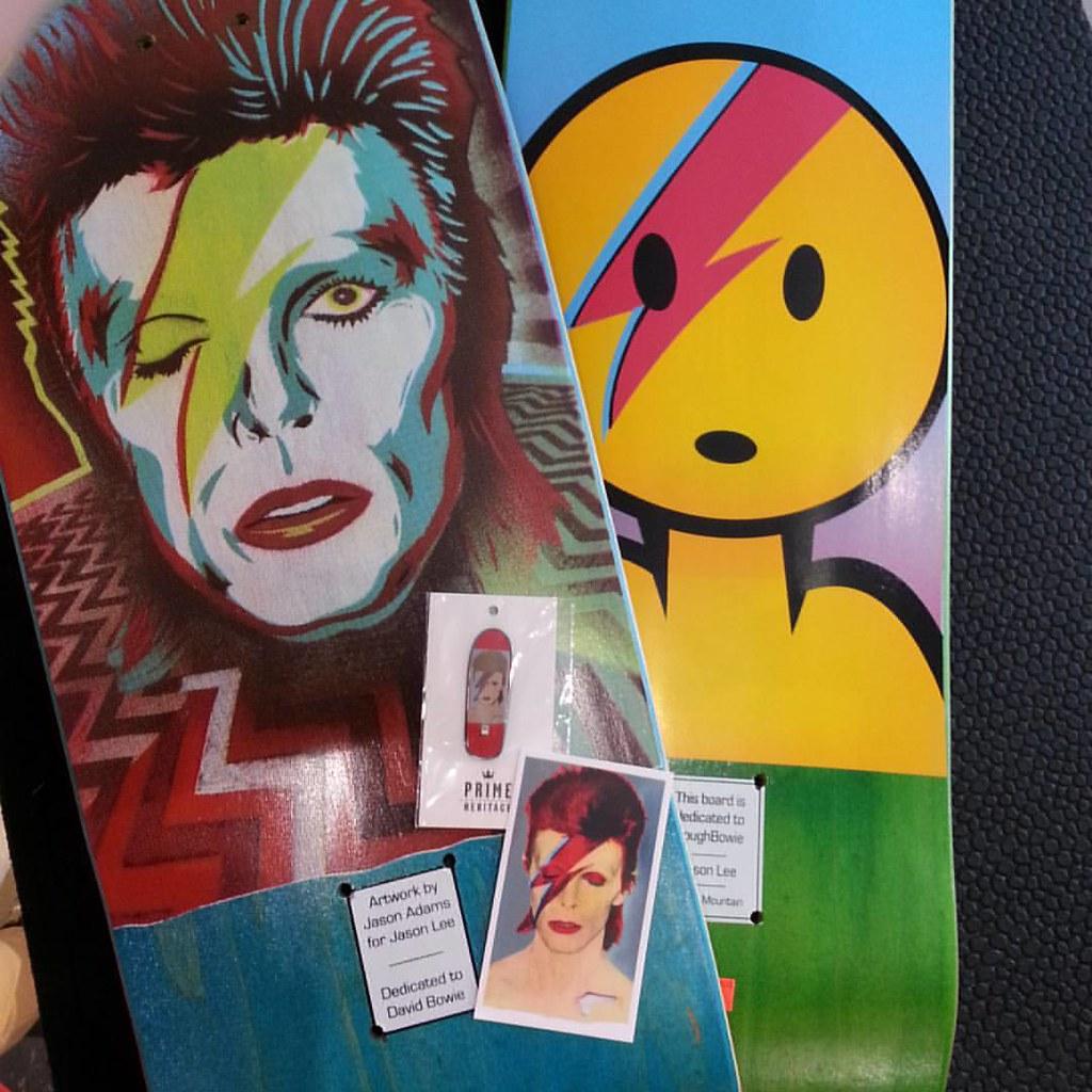 Bowie time at Cal Streets. #primeskateboard #jasonlee #ziggystardust #davidbowie