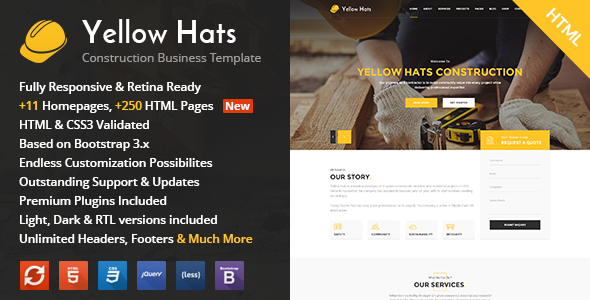 Yellow Hats v1.1 – Construction, Building & Renovation HTML Template