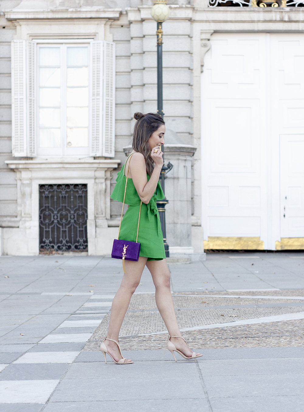 Green jumpsuit ysl bag heels uterqüe accessories summer outfit fashion03