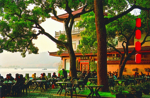 Tea House along the river by Wang Hua. From Visiting Marco Polo's Favorite City in China