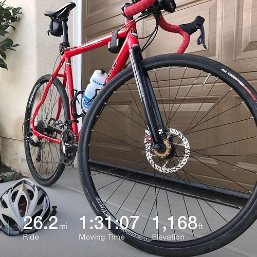 Used the borrowed cyclocross bike for the morning group road ride. It wasn't the right bike for me today, but still good to get out. . . . #velonutz #dawnpatrol #roadride #cx #cyclocross #sandiego #summer #red
