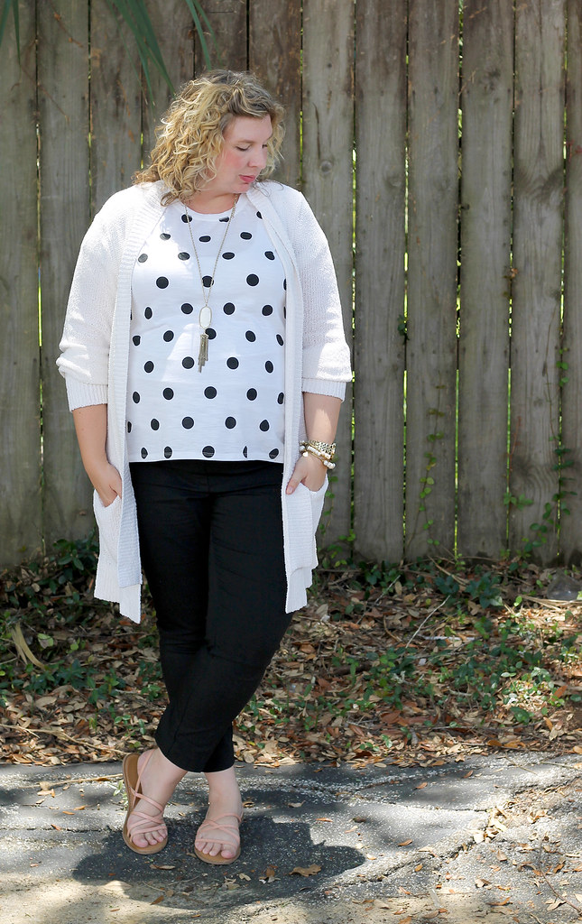 maternity black pants, white and black polka dot tee, long cream cardigan 6