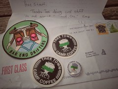 Yasss! Finally got my #treetowncampcoffee stickers and buttons! Sweet. Thanks  Nate Yikes  for the swag. Now eagerly awaiting stickers from @grassupthemiddlecc