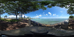 A view of Ala Moana, Waikiki and Diamond Head from Kewalo Basin - a 360° Equirectangular VR