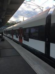 Train de la SBB CFF FFS (Chemins de fer fédéraux suisses) en gare de Bellegarde-sur-Valserine
