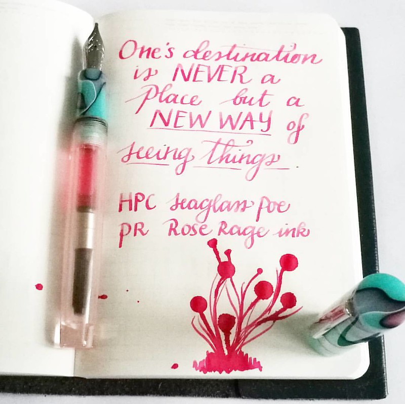 A new way of seeing things... This pink though, you need 😎 as it's so bright!  #mindfulmusings #quoteoftheday #FPN #FPGeeks #fountainpennetwork #seaglass #neonpink #privatereserve #roserage #handwritten #handwriting #dailywriting #dailyinspirat