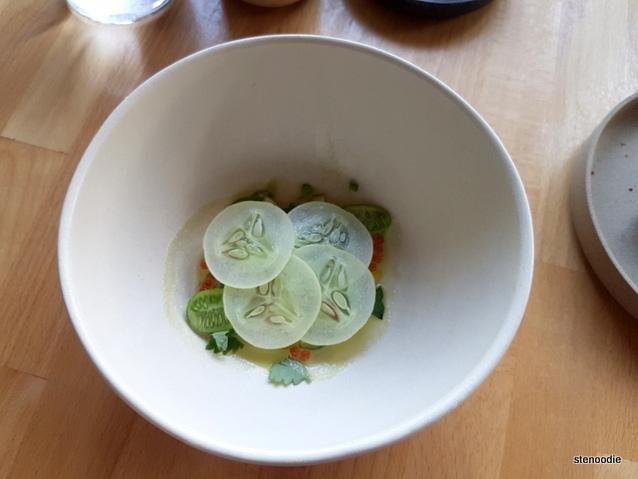 """tuna, blonde cucumber, green tomato"""