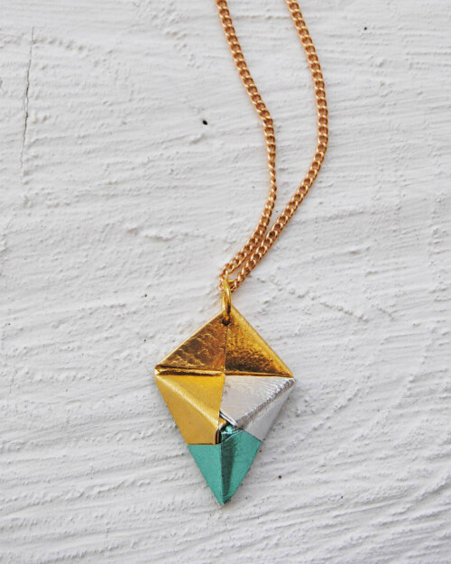 Gold, Silver, and Turquoise Origami Necklace by Diffizil