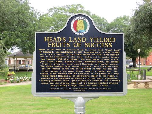 Head's Land Yielded Fruits of Success Marker Headland AL