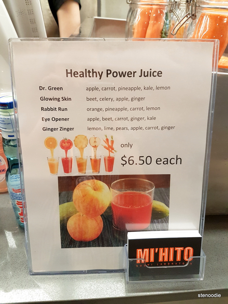 Healthy power juices menu and prices