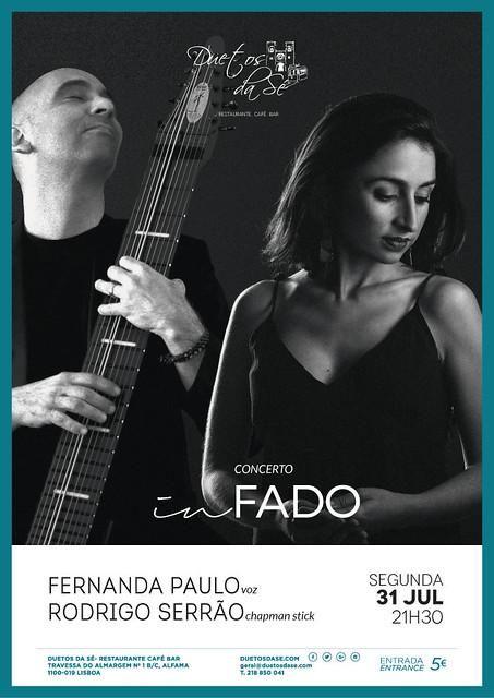 CONCERTO IN FADO - Duetos da Sé - Alfama Lisboa - SEGUNDA-FEIRA 31 JULHO 2017 - 21h30 - Fernanda Paulo - Rodrigo Serrão
