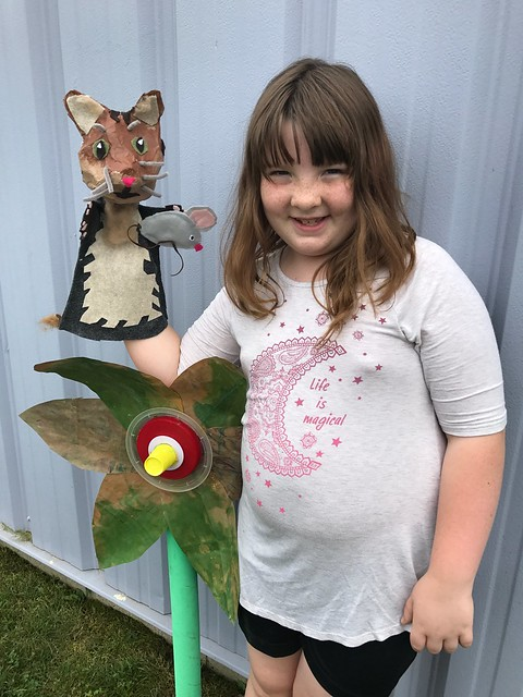 Lucy just finished two summer art classes: Build Your Own Character and Trash to Treasure. These are her favorite pieces from each one.