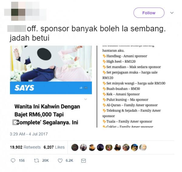 Majlis Kahwin Jimat, Banyak Sponsor