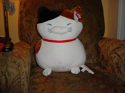 giant stuffed calico cat