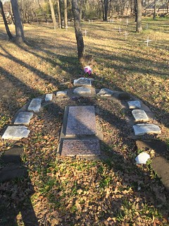 Rearranged headstones at McCombs Cemetery