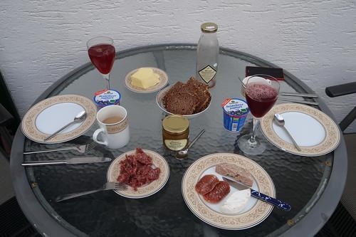 Sechstes Frühstück in unserer Ferienwohnung in der Rhön