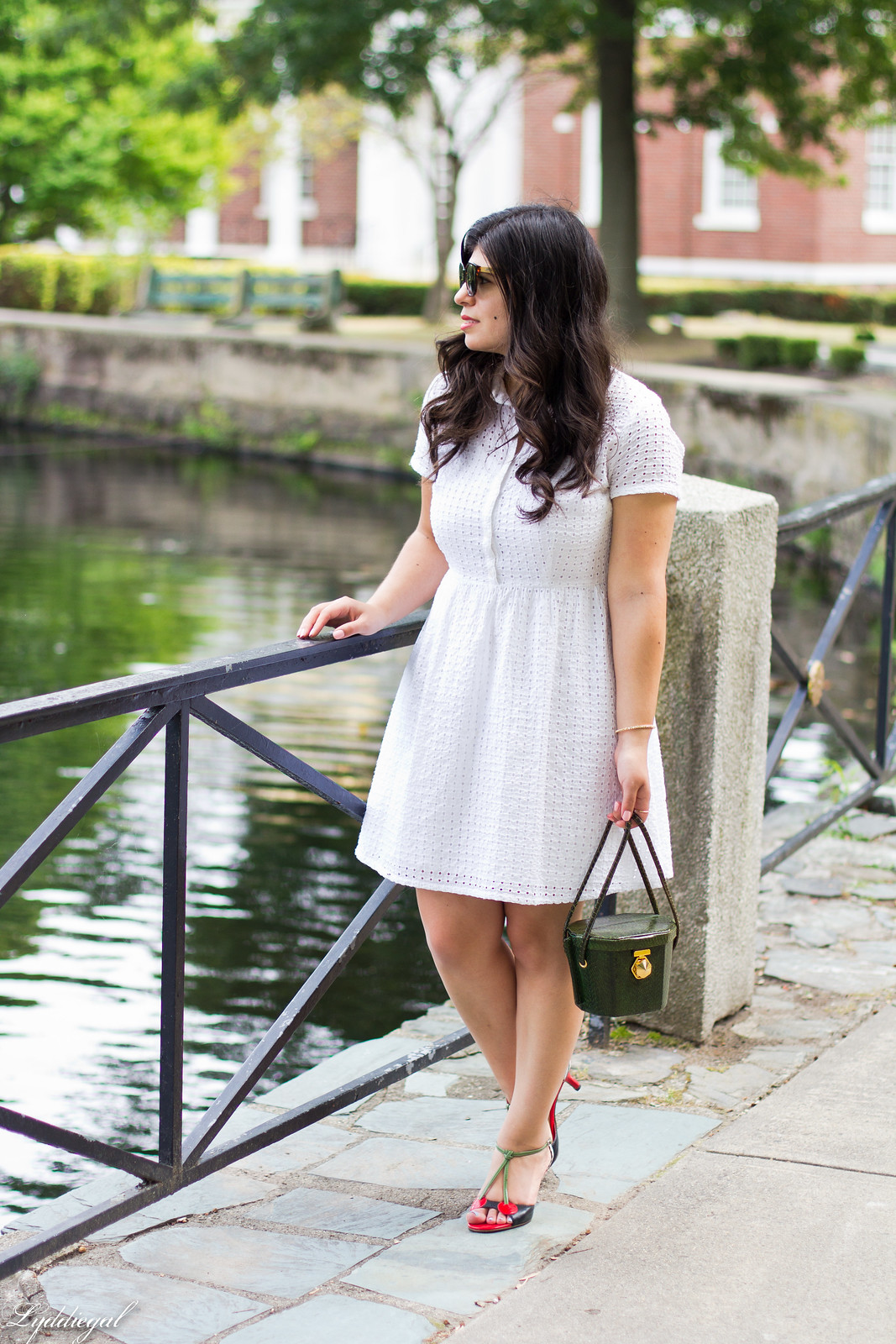 white eyelet lace dress, green snake box bag, cherry pumps-4.jpg