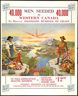 40,000 Men Needed in Western Canada. Poster to encourage American immigration /  40 000 hommes requis dans l'Ouest canadien. Affiche pour favoriser l'immigration américaine