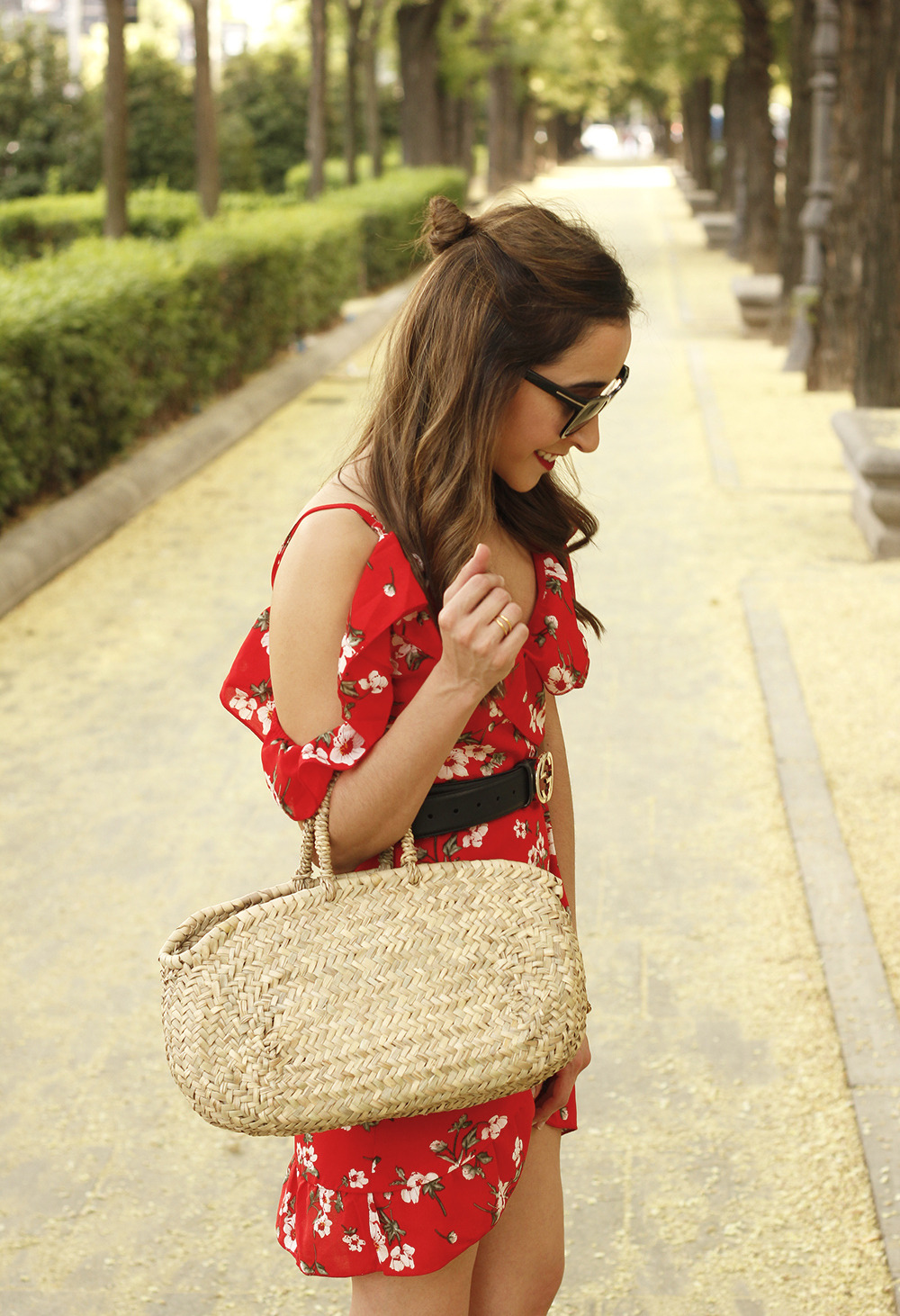 Red flower dress nude heels gucci belt rafia bag style fashion summer04