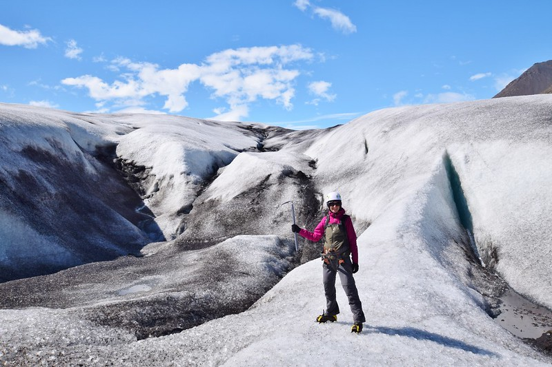 Glacier hike Iceland - glacier hike with crampons and my ice axe!