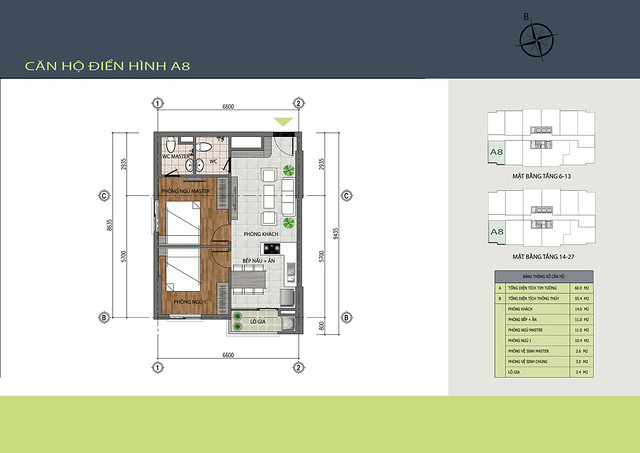 Mặt bằng chi tiết căn hộ A8 dự án Hồng Hà Tower - Chung cư 89 Thịnh Liệt