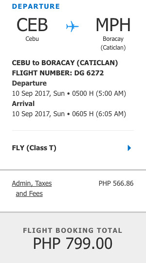 Cebu to Boracay Promo Sept 10, 2017