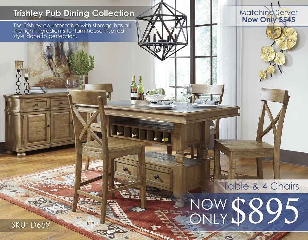 Trishley Dining Set D659-32-124(4)-60-R40133