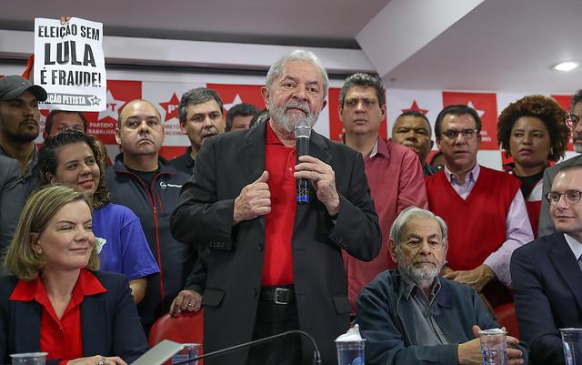 Después de la sentencia condenatoria anunciada ayer contra él, Lula hizo hoy un pronunciamiento en la sede del Partido de los Trabajadores - Créditos: Ricardo Stuckert