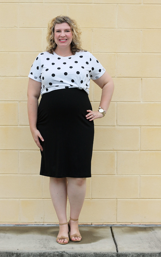 dot dot tee, maternity black dress, wedge sandals 7