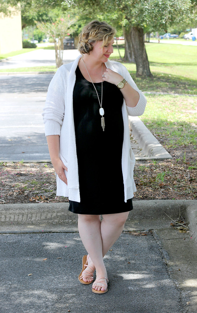black maternity dress, cream open weave cardigan 4