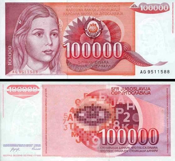 100 000 Dinárov Juhoslávia 1993, P97