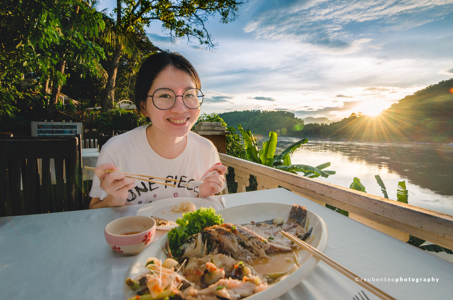 Sunset Dinner by the Mekong River