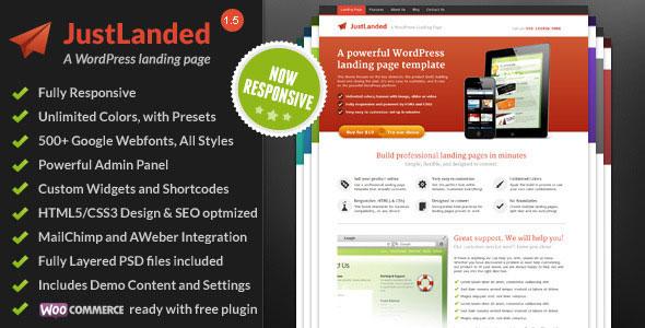 JustLanded v1.6.5 – WordPress Landing Page