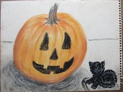 1-52 Jack-o-lantern and black cat figurine