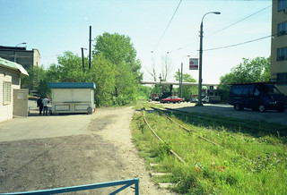 Ugreshkaya tram station, join of Moscow tram and railway track, branch of Mosgortrans storage base