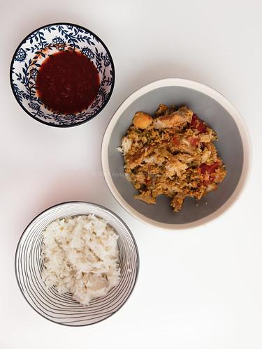 Nasi goreng, sambal ulek and rice.