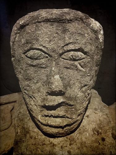 Stone head in an odd Prehistoric Museum in Ireland