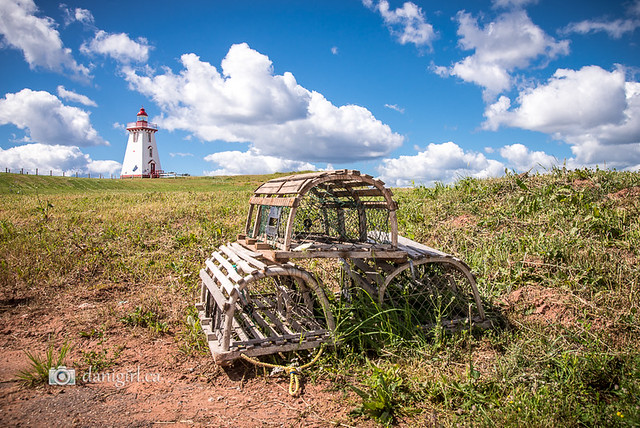 Souris Lighthouse and lobster traps