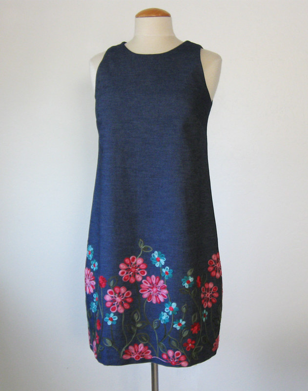 denim flower dress on form front