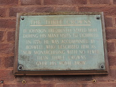 Photo of Samuel Johnson, The Three Crowns, Lichfield, and James Boswell black plaque
