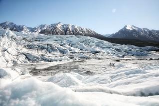 Walking on ice at Matanuska Glacier in Alaska
