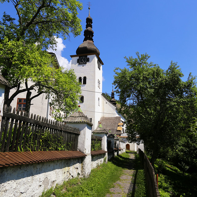 Historical church in old mining village Špania Dolina