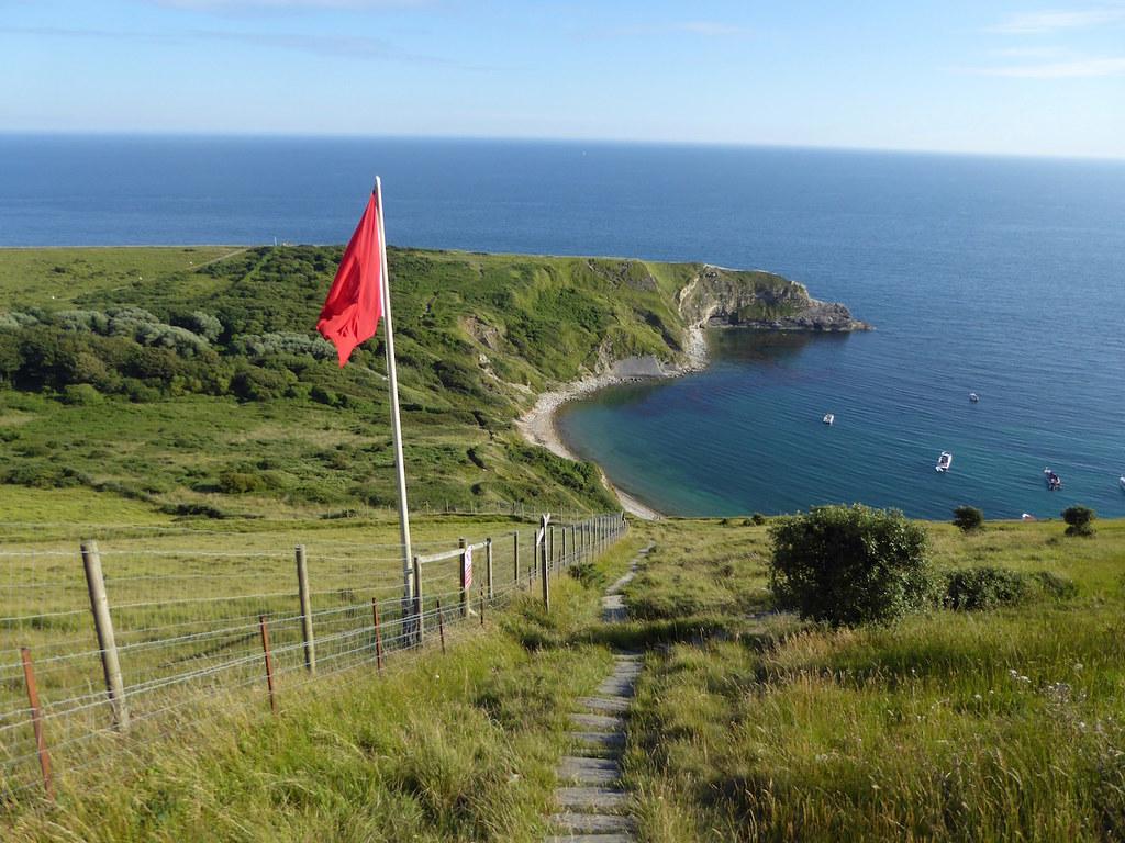 Steep path down to Lulworth Cove