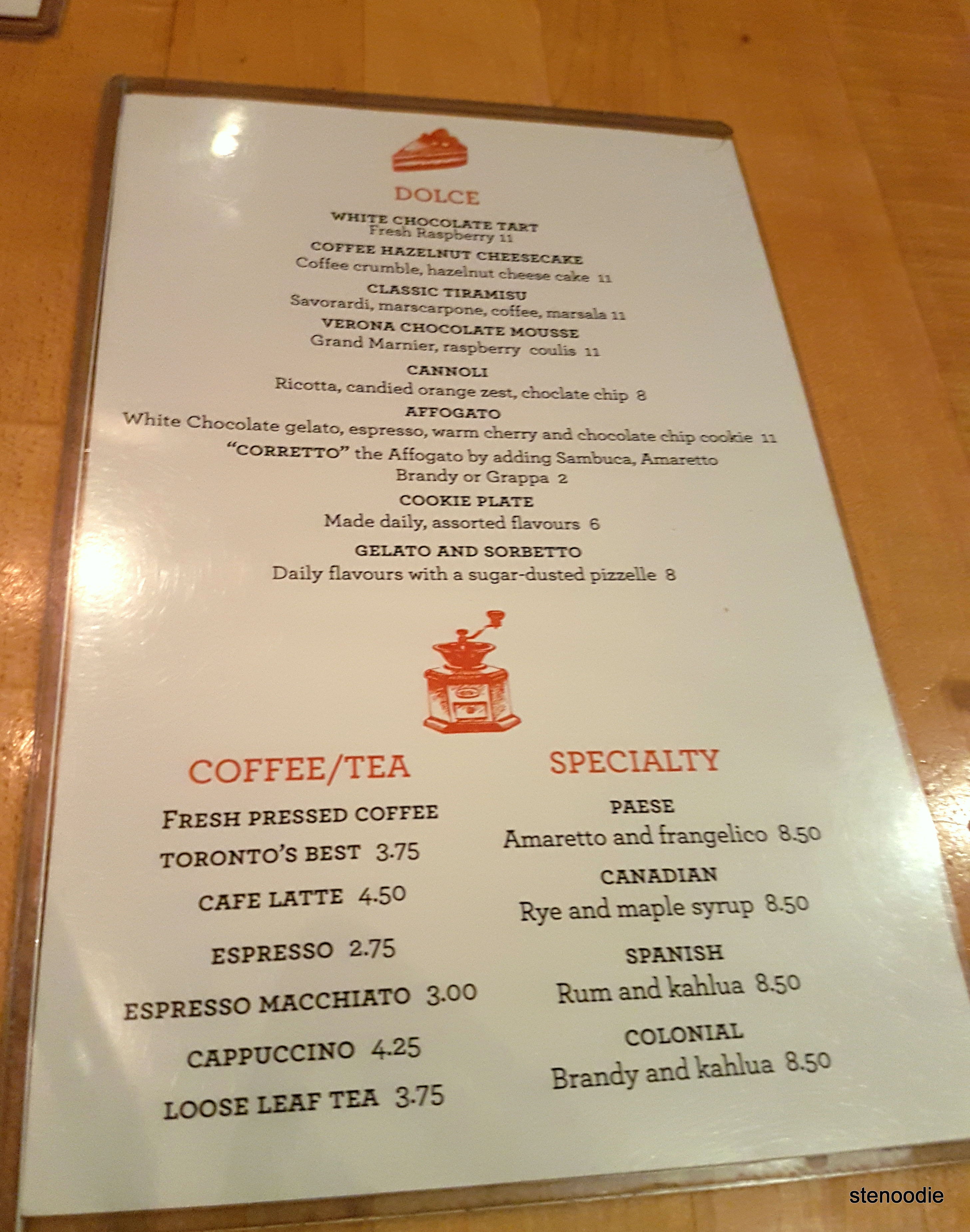 Paese dessert menu and drinks