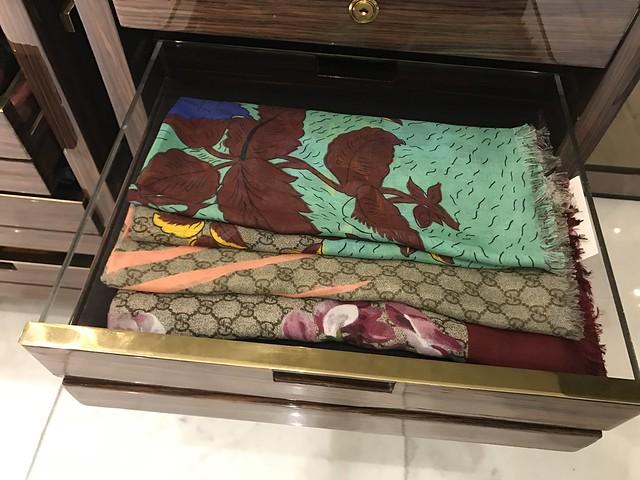 Gucci shawls, bold colors